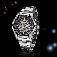 10pcs WINNER Men Skeleton Stainless Steel Automatic Mechanical Wrist Watch