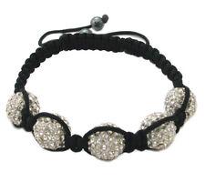 Black Macrame 14MM 5 Crystal Bead Shamballa Adjustable Bracelet