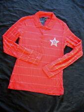 GANT -poloshirt Mujer Plata Rayas Rugby con logo rojo / PLATA TALLA S, M NUEVO