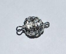 4 12mm Swarovski Rhinestone Ball Pendant link Rhodium / Crystal T84