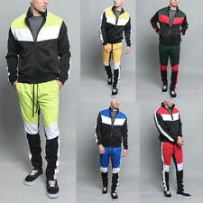 Men's Sports Jogging Fashion Workout Tri Color Blocked TrackSuit S~5XL ST553-V1A