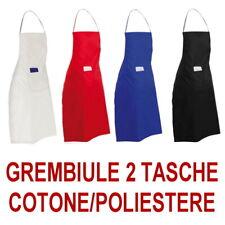 GREMBIULE CUCINA COTONE POLIESTERE 2 Tasche Bar Chef BIANCO NERO ROSSO BLU tasca