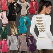 ♥ Sexy Damen Long Pullover Pailletten Rücken Pulli Strick Mini Kleid 34/36/38