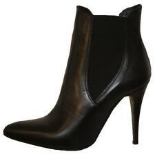 M0115 Damen Leder Stiefel Stiefeletten hoher Absatz Spitz schwarz 37 38 39 40