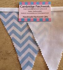 Blue & White Chevron Zig Zag Fabric & White Cotton Fabric Bunting