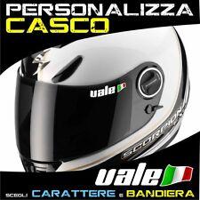 2 Adesivi NOME + BANDIERA casco moto visiera adesivo
