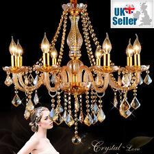 Genuine K9 Crystal Chandelier AMBER GOLDEN 6, 8, 10 Lights Candle Pendant Lamp