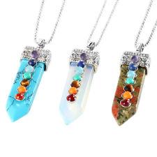 7 Gemstone Bead Sword Necklace Quartz Crystal Stone Point Chakra  Reiki Pendant
