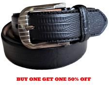 Men's Genuine Leather Alligator Embossed Casual Dress Black Belt Silver Buckle
