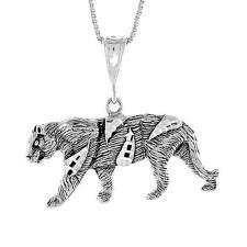 "Sterling Silver TIGER Pendant / Charm, 18"" Italian Box Chain"