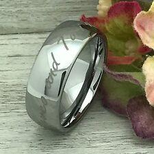 8mm Tungsten Ring,Custom Engraved Wedding Band, Unisex Ring-Free Engraving