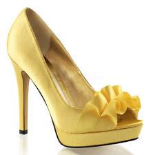 Purple Satin Platform Bridesmaid Peep Toe Formal Dance Heels Shoes 6 7 8 9 10 11