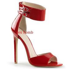 SEXY sandali tacco 13 ROSSO LUCIDO dal n. 35 al 44 cavigliera ZIP scarpe GLAMOUR