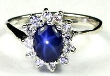Blue Star Sapphire, 10k White Gold Ladies Ring -Handmade • R235-WG