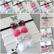 4x Headband Baby Girl Toddler Newborn Small Bow Nylon Hair Band Accessory