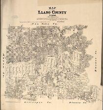Stampa POSTER Antico città americane città mappa degli stati Contea del Texas Llano