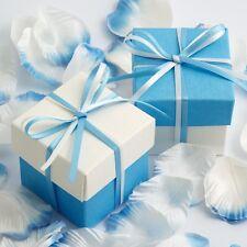 Bleu & Blanc Deux Tons Carré Boîtes Et Couvercles + Rubans Mariage Faveur Cadeau
