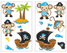 13-teiliges Piraten Affen Blau Wandtattoo Set Kinderzimmer Babyzimmer 3 Größen