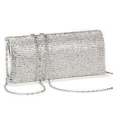 New Silver Diamante Diamond Crystal  Clutch Bags