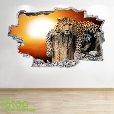 Adesivo Parete Tramonto Leopardo 3d Look-Camera da Letto Salotto Natura Animali Decalcomania z177