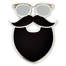 PinMart's Trendy Hipster Glasses Mustache and Beard Enamel Lapel Pin