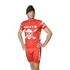 Pirate Skins Rot mit Trägern, Fahrradhose, Skull, Pirat, Gothic,