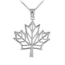 Polished Sterling Silver Open Design Maple Leaf Pendant Necklace