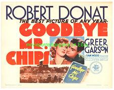 GOODBYE MR. CHIPS MOVIE POSTER ROBERT DONAT GREER GARSON R1962 HALF SHEET