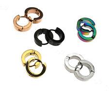 Women Men Stainless Steel 14mm Round Hoop Sleeper Earring Hinged Snap - 5 Colors