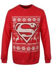SUPERMAN DC COMICS Fair Isle Logo Girocollo Felpa Uomo Maglione Rosso