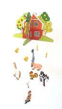 Mobile Schwingtier Holzmobile Bauernhof Tiere Kuh Ente Windspiel  Holz Baby Zelt