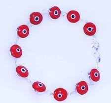 Red solid Evil Eye DARK BLUE Turkish Greek Hamsa  925.Sterling Silver Bracelet