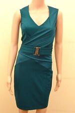 New Lipsy Green Slinky Wrap Buckle Front Dress Sz UK 10