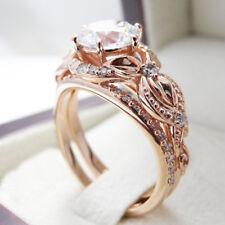 Fashion 18K Rose Gold Plated Flower White Sapphire Wedding Proposal Ring Set