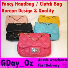 Mini Fancy Handbag / Clutch bag. In Aqua, Black, Pink, or Yellow Leather