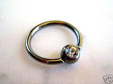 "Gem Captive Bead Ring 16g 3/8"" Lip Tragus Ear Clear 4MM CZ 316L Surgical Steel"