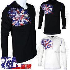 Mens Henley Long Sleeve T Shirt Casual Slim England Flag Fashion Tops Button Tee