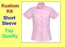 Kustom Kit De Damas Nuevo Rosa Oxford Camisa Manga Corta Blusa// superior, Oficina/casual