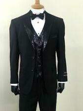 Men's 3-PC Black Tuxedo Suit 2-Button Metallic Sequins Vest & Lapels/Collars New