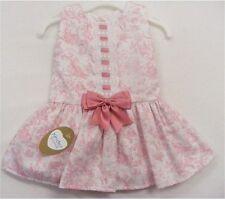 Kinder boutique espagnol style dusty rose et blanc dropwaist nœud bordure robe
