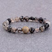 Men Women 10mm White CZ Ball Bracelets Natural Stone Crack Weathering Agate Bead