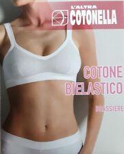6 REGGISENI BRASSIERE COTONELLA ART GD065 IN COTONE ELASTICIZZATO BIANCO 2-3-4-5