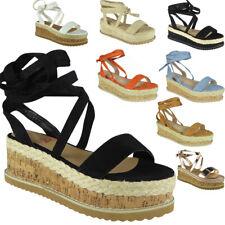 Ladies Lace Up Sandals Womens Tie Up Espadrilles Wedge Platform Shoes Sizes