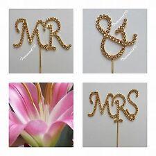 Cake Pick Topper Gold Diamante Rhinestone GEMS Mr Mrs Wedding Civil Ceremony &