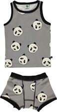 SMAFOLK Unterwäsche Set zweiteilig allover Panda grau weiß  92 98 104 110