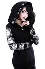 Sweat veste noire à grande capuche avec motifs lunaires, gothique o Restyle