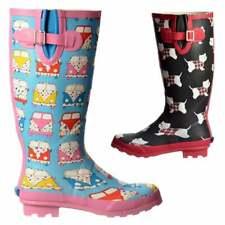 Ladies Girls Funky Flat Wellie Wellington Festival Rain Boots - Assorted Colours