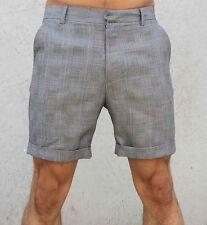 NEW MENS CHECK SHORTS CASUAL FASHION SLIM FIT 28 - 30 PLAIN WALK DESIGNER