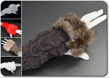Fingerlose Handschuhe Wolle Kunstpelz Winterhandschuhe Strickhandschuhe Paris