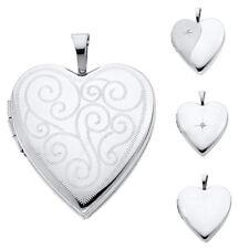 14K Real White Gold Engraved Heart Locket Pendant Collection For Men Women
